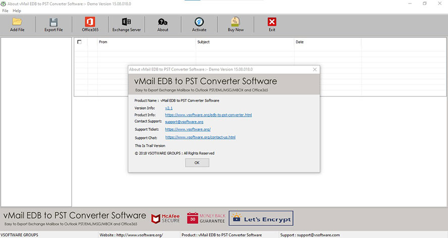 vMail EDB to PST Converter full screenshot